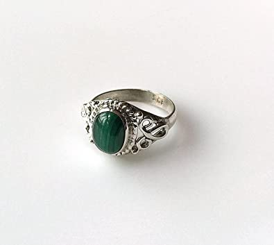 Shanya Sterling Silver Ethnic Ring Green Malachite mz9XVKlO