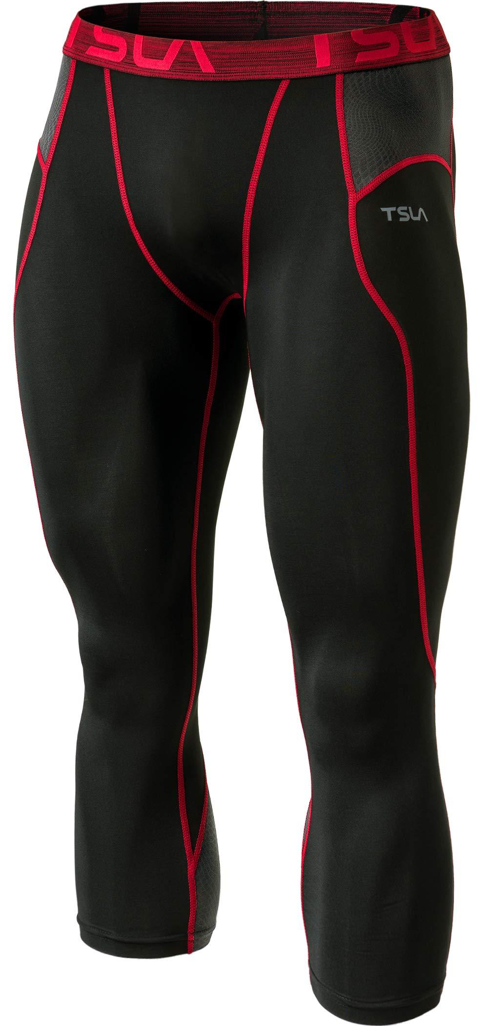 TSLA Men's Compression 3/4 Capri Pants Baselayer Cool Dry Sports Running Yoga Tights, Print(muc28) - Black & Red, Small by TSLA