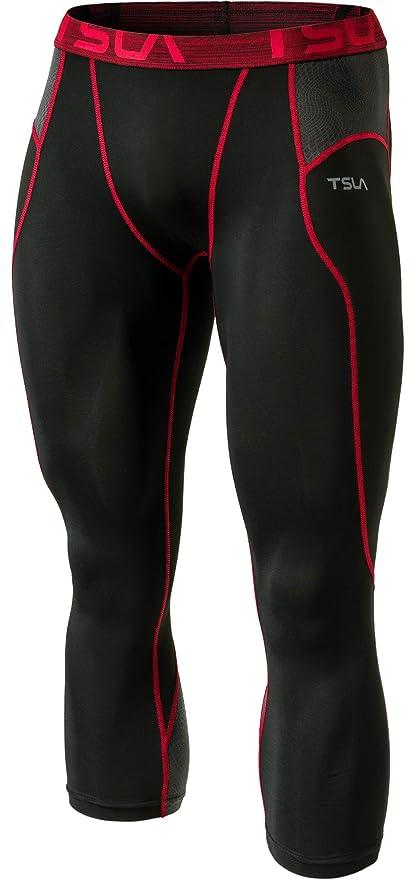 4dbd23096 Amazon.com : TSLA Men's Compression 3/4 Capri Pants Baselayer Cool Dry  Sports Running Yoga Tights : Clothing