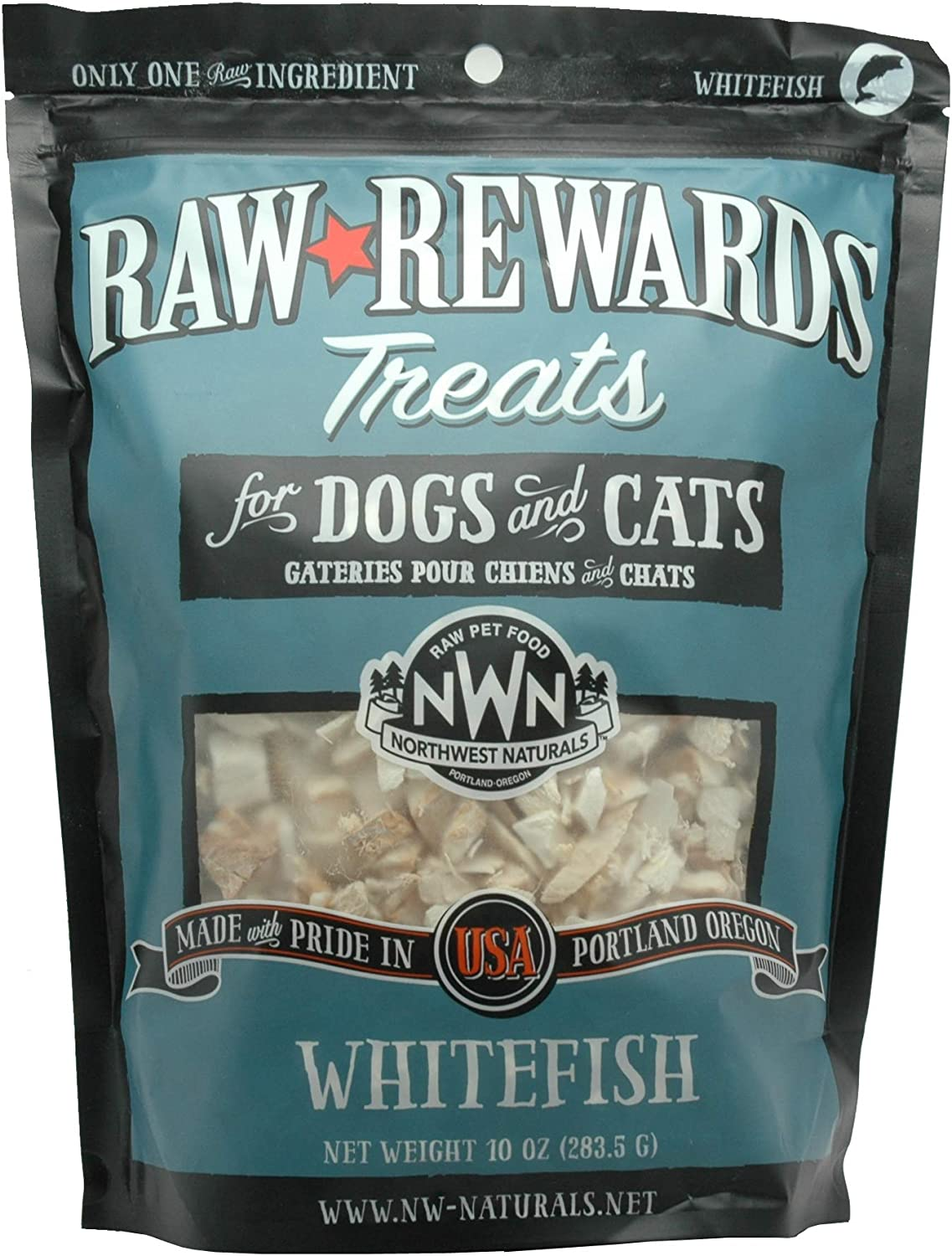 Northwest Naturals Raw Rewards Freeze-Dried Treats for Dogs and Cats – Whitefish – Gluten-Free Pet Food, Cat Snacks, Dog Snacks – 10 Oz.
