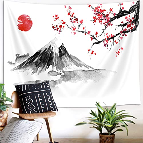 Japanese Decor Large Tapestry, Asian Anime Mount Fuji Red Sun Tapestry Wall Hanging for Bedroom, Japanese Art Cherry Blossom Decorations Tapestry Beach Blanket College Dorm 90 W X 70 H