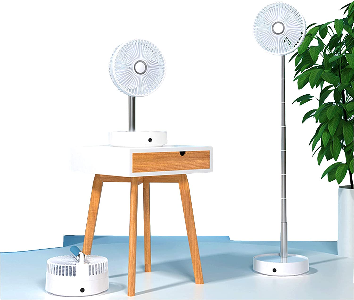 Floor Fan Oscillating Remote Quiet Pedestal Table Desk Portable Personal Standing Foldable Rechargeable USB Operated Powered Battery Mini Smart Air Cooling Conditioner Ventilator Home Office Bedroom