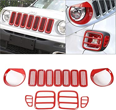 Yoursme for Jeep Renegade 2015-2018 Tail Light Covers Rear Lamp Guard Trim Protector Black Pack of 4