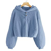 GAMISOTE Kids Girl's Fuzzy Hoodies Warm Loose Button Down Pullover Sherpa Jacket Top
