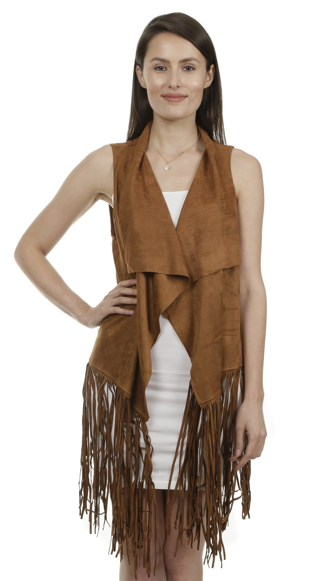 GILBIN'S Women's Fashion Micro-Suedette Long Open Front Cardigan Long Fringe Vest
