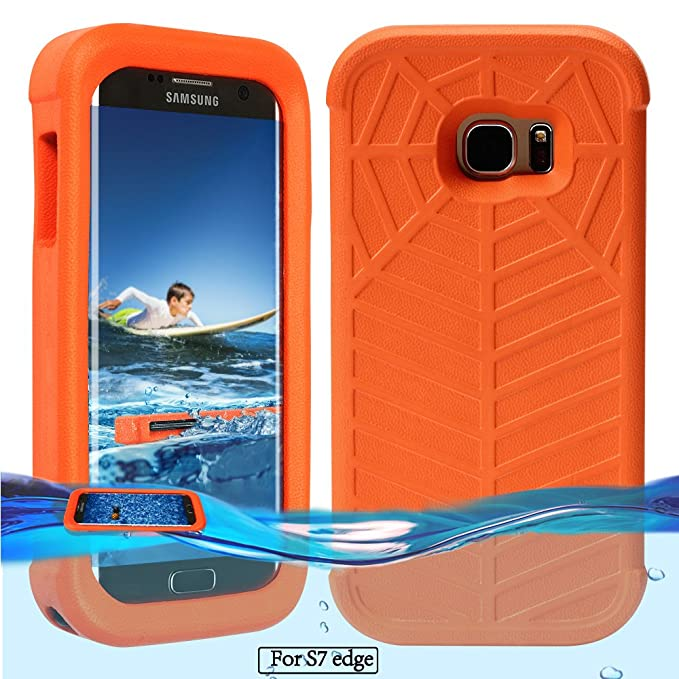 check out 03264 1e4a0 Temdan Galaxy S7 Edge Floating Case with a 0.2mm Clear&Thin Waterproof Bag  Shockproof Lifejacket Case for Samsung Galaxy S7 Edge (5.5inch) -Orange
