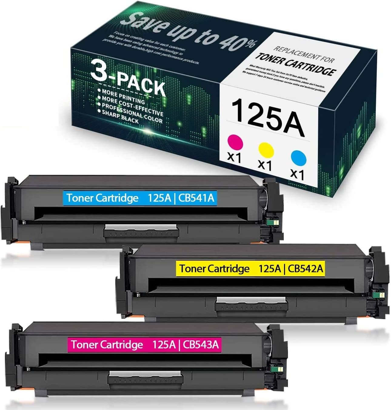 3-Pack (1C+1Y+1M) 125A | CB541A CB542A CB543A Compatible Remanufactured Toner Cartridge Replacement for HP Color Laserjet CP1215 CP1518ni CP1515n CM1312 Printer, Toner Cartridge.
