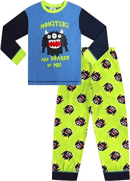 Pijama largo de algodón para niños con diseño de monstruos con texto en inglés