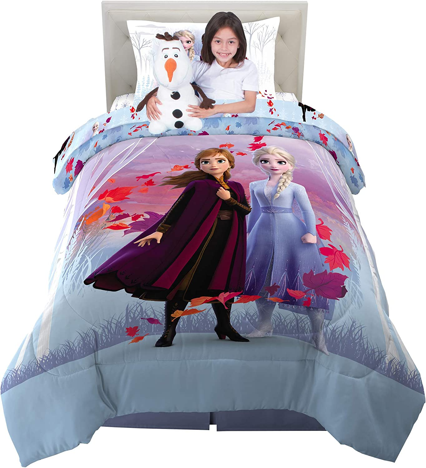 Franco Kids Bedding Super Soft Comforter With Sheets And Cuddle Pillow Bedroom Set 5 Piece Twin Size Disney Frozen 2 Home Kitchen