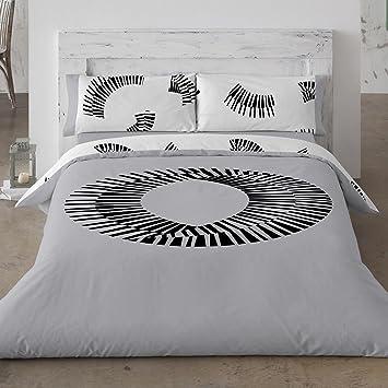 c9ae1106889 Burrito Blanco Juego de Funda Nórdica 353 de Diseño de Círculo con Rayas  para Cama de Matrimonio de 135x190 cm hasta 135x200 cm