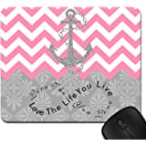Live the Life You Love, Love the Life You Live Gray Anchor Pink Chevron & European Retro Pattern Unique Computer Mouse Pad