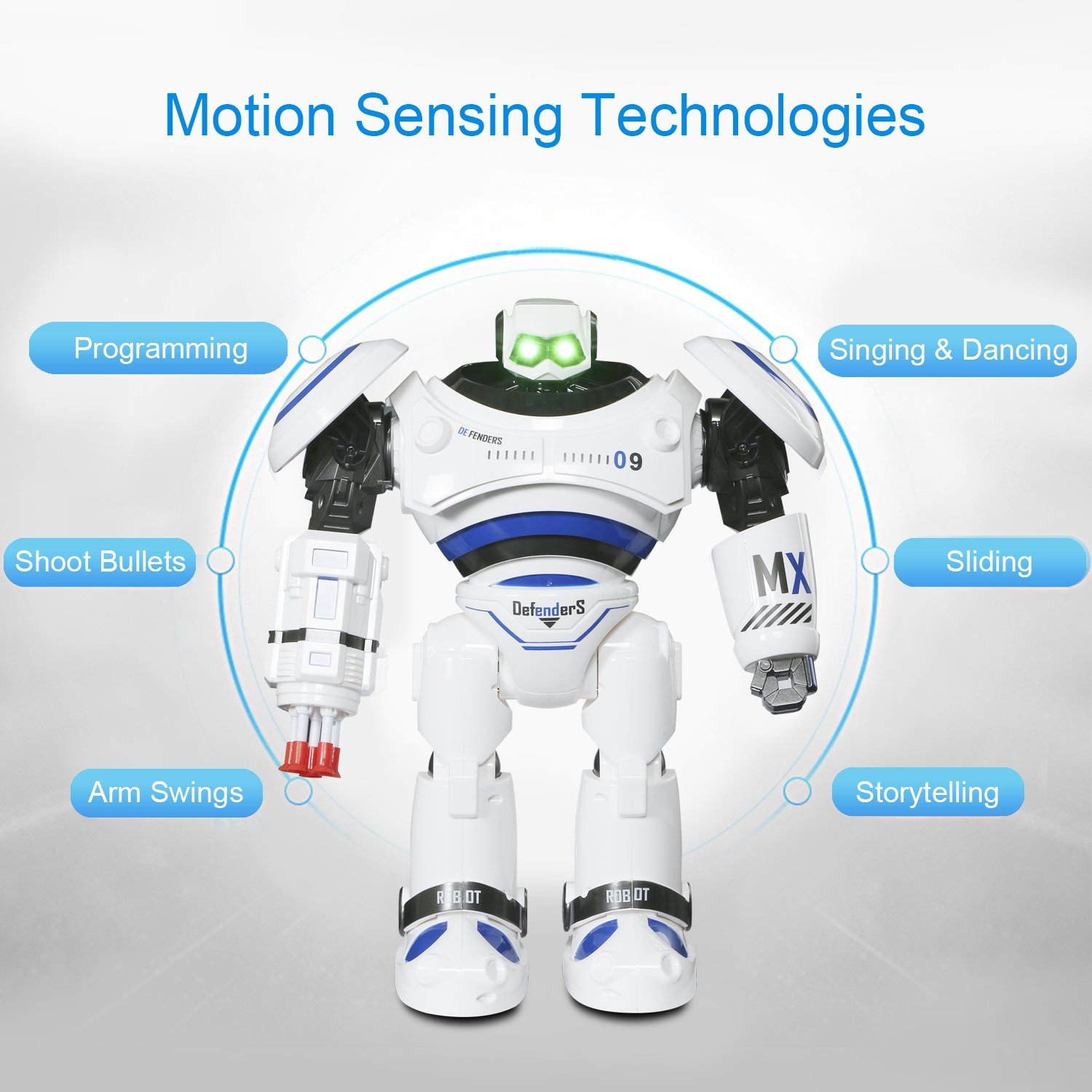 SGILE RC Robot Toy, Programmable Intelligent Walk Sing Dance Robot for Kids Gift Present, White by SGILE (Image #2)