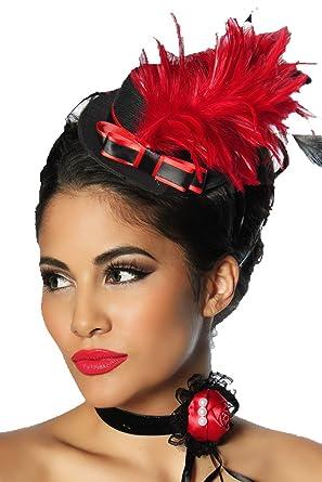 grandes variétés 100% authentique plus grand choix Mini Chapeau Burlesque Femme Coloris Noir et Rouge: Amazon ...