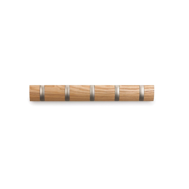 amazoncom umbra flip 5 hook wall mount rackrail naturalnickel home kitchen - Retractable Coat Hook