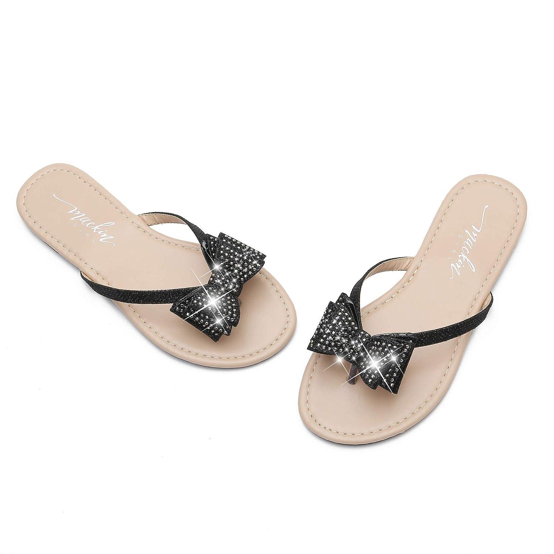 MACKIN J G504-1 Womens Flip Flops Bow Rhinestones Thong Flat Dress Sandals