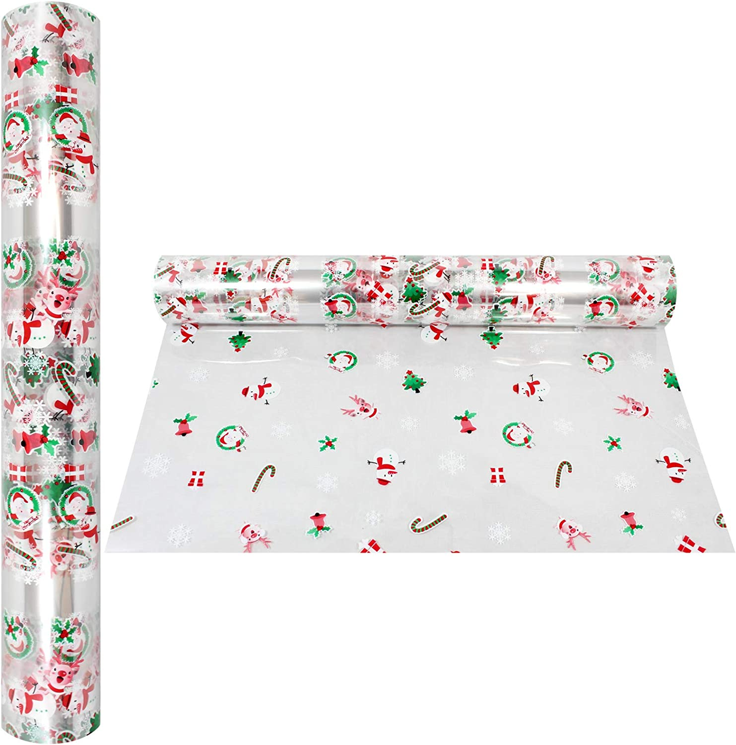 """100/' Ft Crystal Clear with Christmas Designs  Gifts Snowman Cello Roll Long X 16/"""" in Treats Santa Baskets Christmas Cellophane Wrap Roll 2.3 Mil Thick Anapoliz Wide Cello Wrapping Paper"""