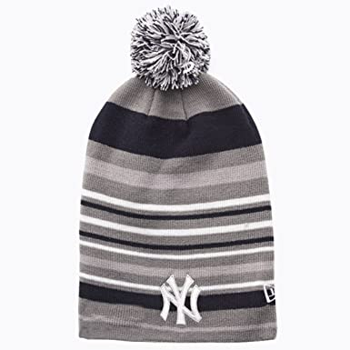 6380e62965a New Era MLB New York Yankees Stripe Out 2 Knit Bobble Beanie Hat - Grey