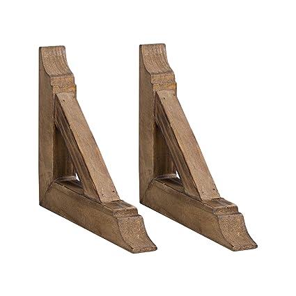 American Art Décor Wooden Corbels Shelf Brackets Vintage Farmhouse Decor Set Of 2 Brown
