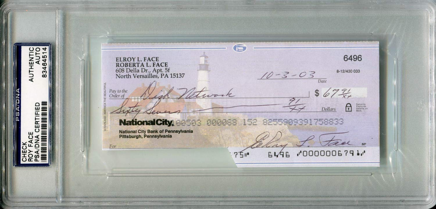 Elroy Roy Face Autographed Signed Personal Check Pittsburgh Pirates Slabbed PSA/DNA Authentic