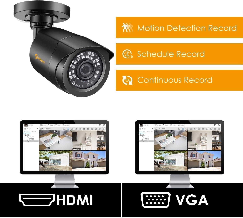 Acceso Remoto Anlapus 1080P 16CH Kit de C/ámaras Seguridad 16pcs C/ámara de Vigilancia Exterior 2TB Disco Duro