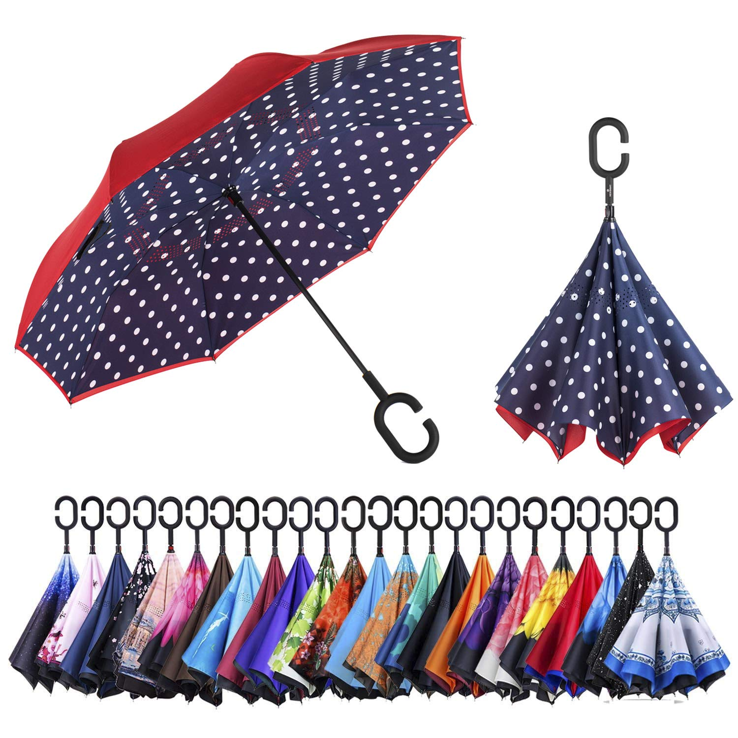 AmaGo Inverted Umbrella – Reverse Double Layer Long Umbrella, C-Shape Handle & Self-Stand to Spare Hands, Inside-Out Fold to Keep Cars & Drivers Dry, Carrying Bag for Easy Traveling (Dot)