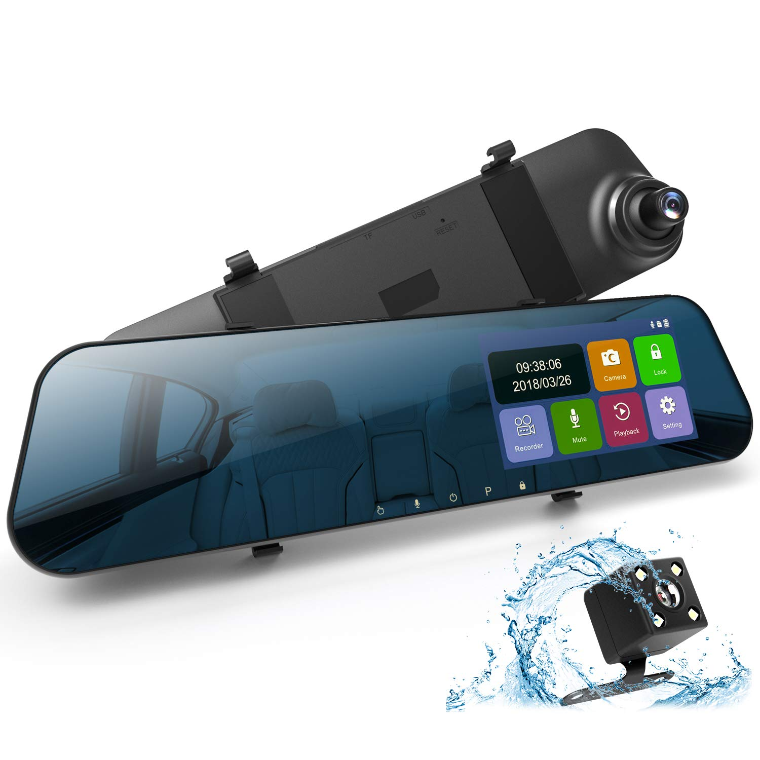 DuDuBell Mirror Dash Cam 4.3'' Touch Screen Car Camera 1080P Full HD Car Video Recorder 170° Wide Angle Dual Dash Cam with G-Sensor Loop Recording Parking Monitor