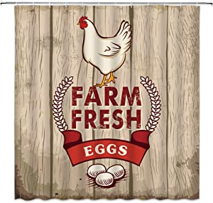 Chicken Shower Curtain Farm Fresh Hen Eggs Rustic Wooden Board Poultry Breeding Cute Country Farmhouse Print Fabric Bathroom Decor,Hooks Included,71 X 71 Inches,Red Beige