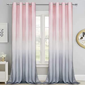 Ombre Gradient Window Curtains, Pink to Grey 2 Tone Curtain Panel, Window Drapes with Grommets for Bedroom Living Room Decor, Set of 2 Panels, 52 x 84 Inch Length