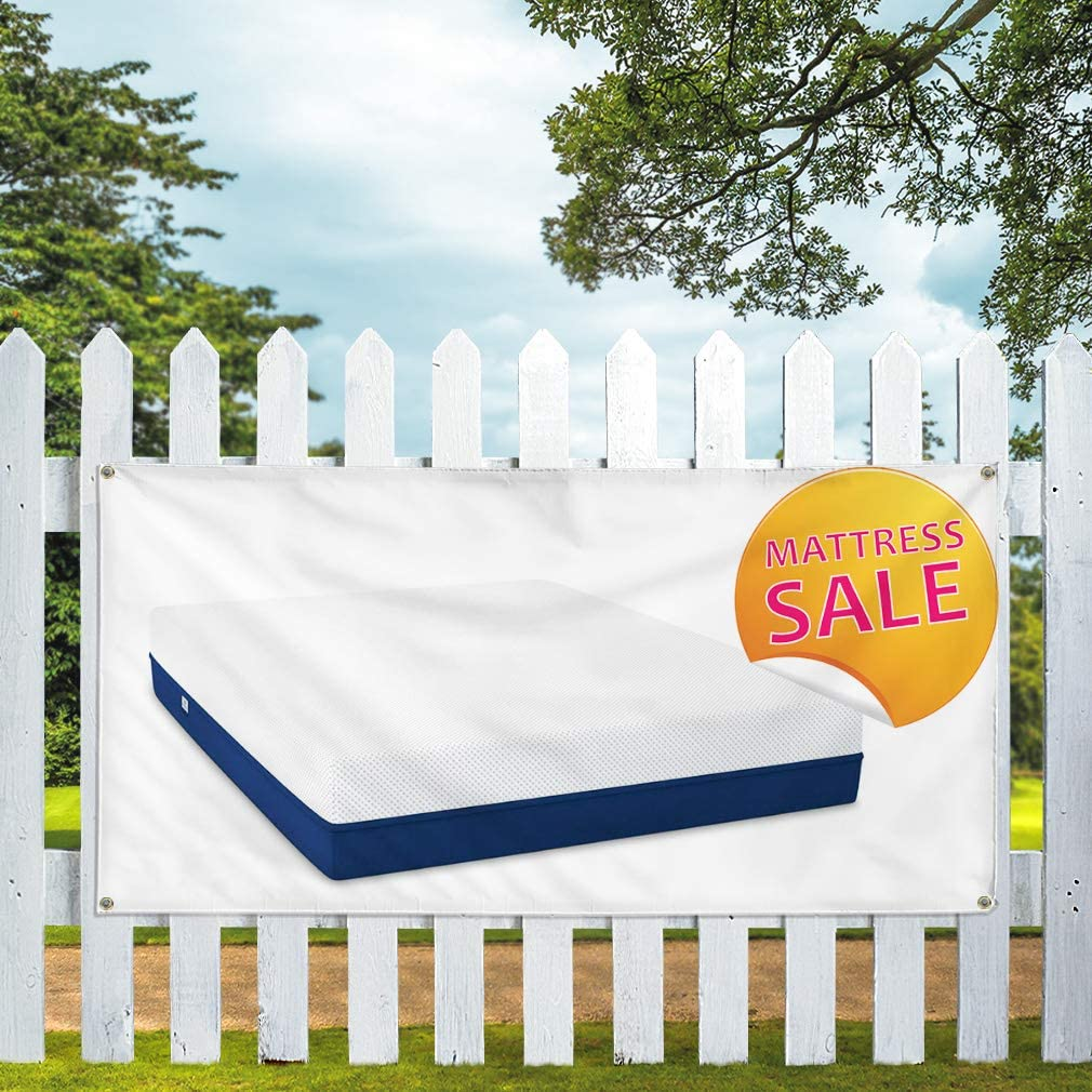 Multiple Sizes Available Vinyl Banner Sign Matters Sale Business Mattress Outdoor Marketing Advertising White One Banner 8 Grommets 44inx110in