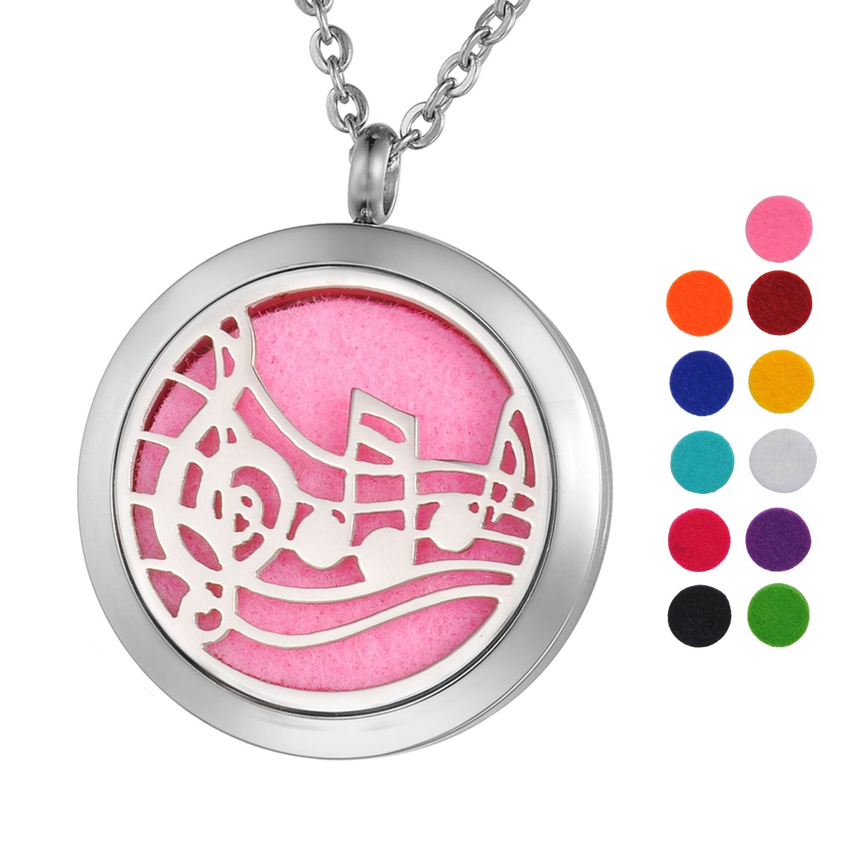 Aromatherapy Essential Oil Diffuser Necklace Music Note Locket Pendant with 12 Pads Silver Tone Supreme glory SGto-B264141