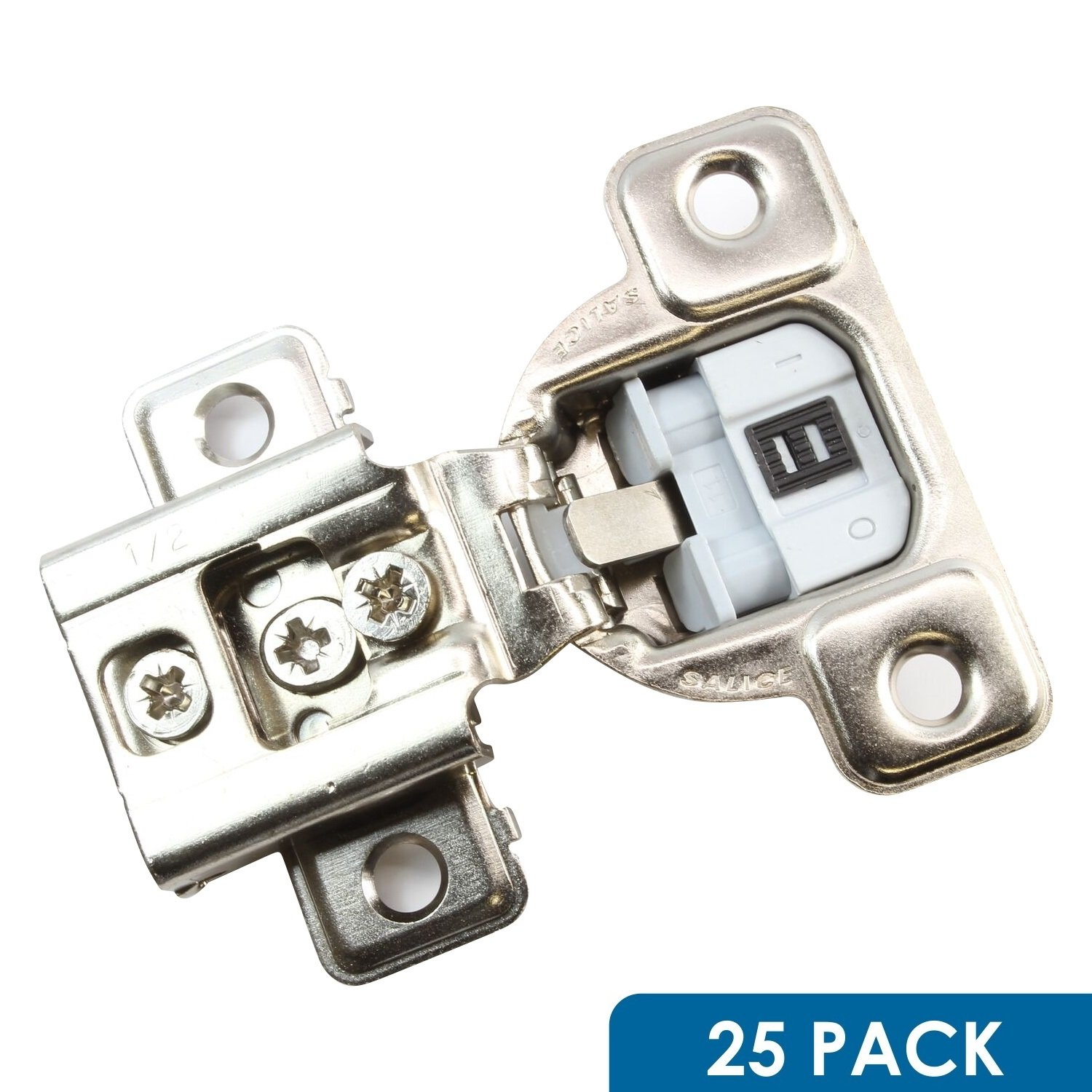 Salice 106 Degree Silentia E-Centhree 1/2'' Overlay Screw On Soft Close Cabinet Hinge with 3 Cam Adjustment CUP37D9R (25 Pack)