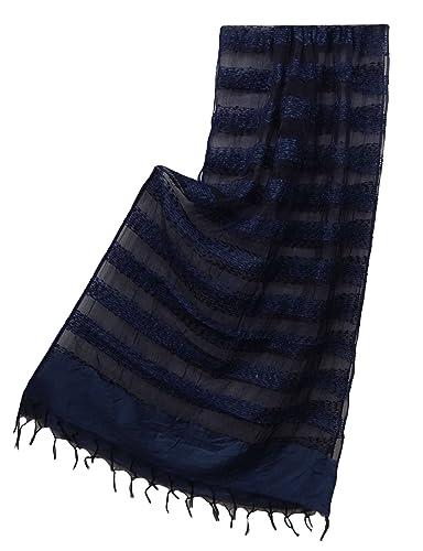 Mujeres Tissue Organza Moda Bufanda De Diseño De La Franja Envuelto De Cuero Estola Dupatta 90 &quot...