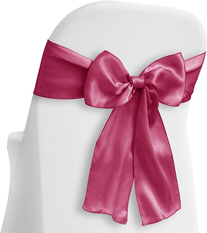 Lann's Linens - 10 Elegant Satin Wedding/Party Chair Cover Sashes/Bows - Ribbon Tie Back Sash - Fuchsia