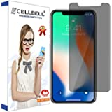 CELLBELL Apple iPhone X Privacy Tempered Glass Screen Protector with Installation Kit