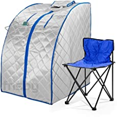 Infrared IR Far Ion Portable Indoor Personal Spa Sauna by Durasage with Air Ionizer, Negative Ion Generator and Heating Foot Pad with Chair