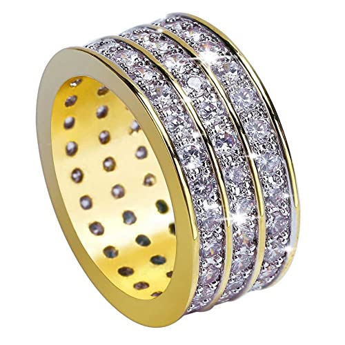 Amazon.com: jinao Oro 18 K 10 mm 3 filas Eternidad Boda ...