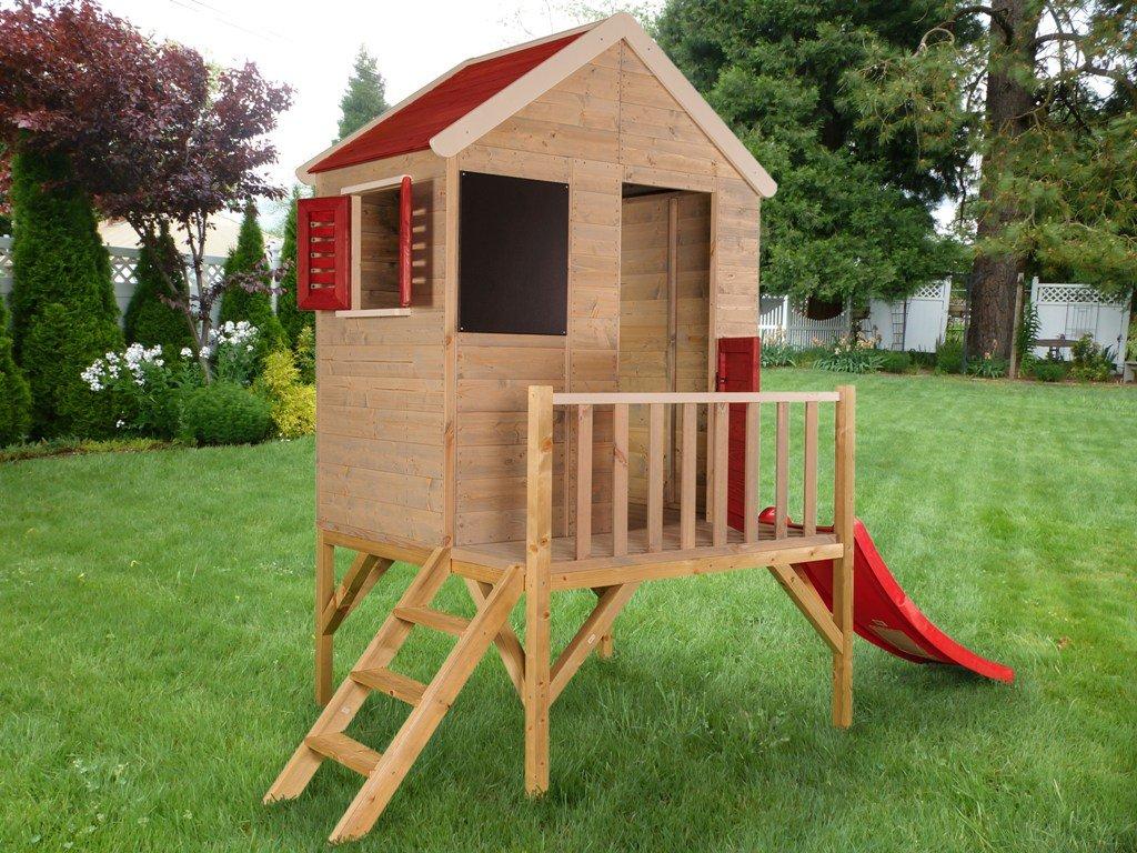 Kinderspielhaus Gartenhaus Holzhaus Kinder mit Rutsche , Kreidetafel, Plattform, Treppe