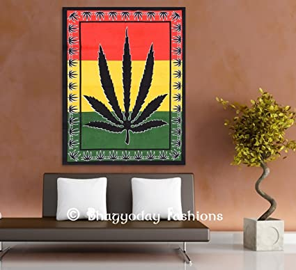 Amazon Com Weed Tapestry Psychedelic Hippie Marijuana Leaf Wal