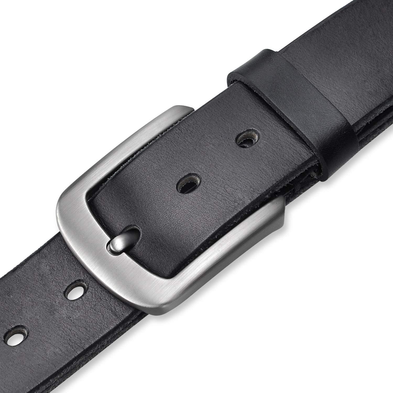 Khaki Lychee Cintura Uomo in Vera pelle,100/% italiana Cintura,Fibbia in Metallo Classico Cinghia Cuoio Elegante per Casuale Lavoro//marrone