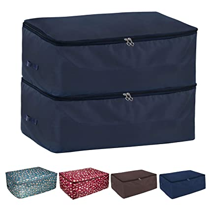 Yachee 2pcs Thick Oxford Clothing Storage Bags With Carry Handles,  Waterproof Foldable Large Fabric Clothes