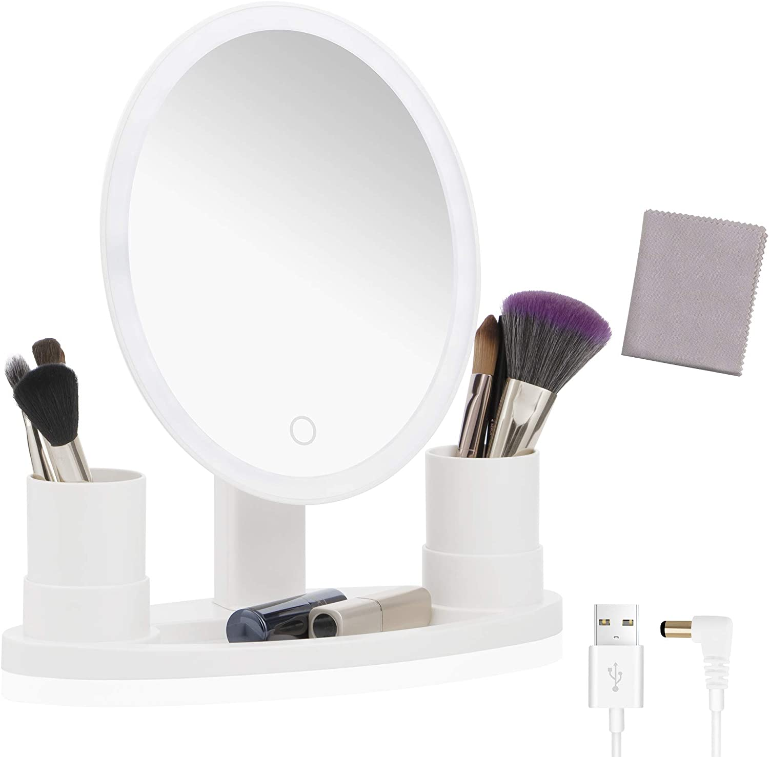 5X Magnification Makeup Mirror with Lights, Lighted MakeupVanity Mirror with CosmeticBrush Organizer, Dual Power Smart Touch DimmableMagnifying Illuminated Mirrors