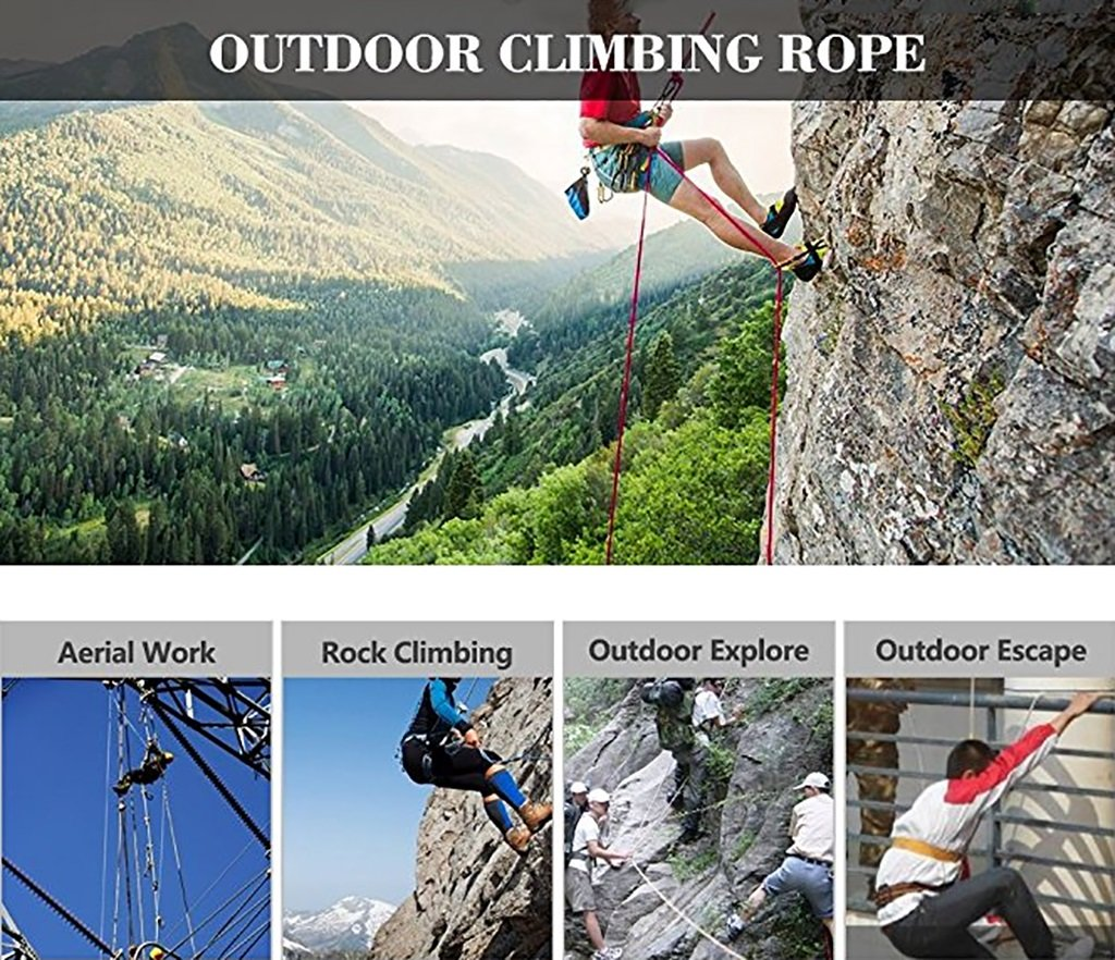 Climbing Rope,Blue Diameter 8mm/10mm Rock Climbing Rope,10M, 20M, 50M, 100M, Outdoor Explore Escape Rescue Rope,High Strength Nylon Rope Safety Rope (Color : Diameter-8mm, Size : 10M) by The Rope It (Image #3)