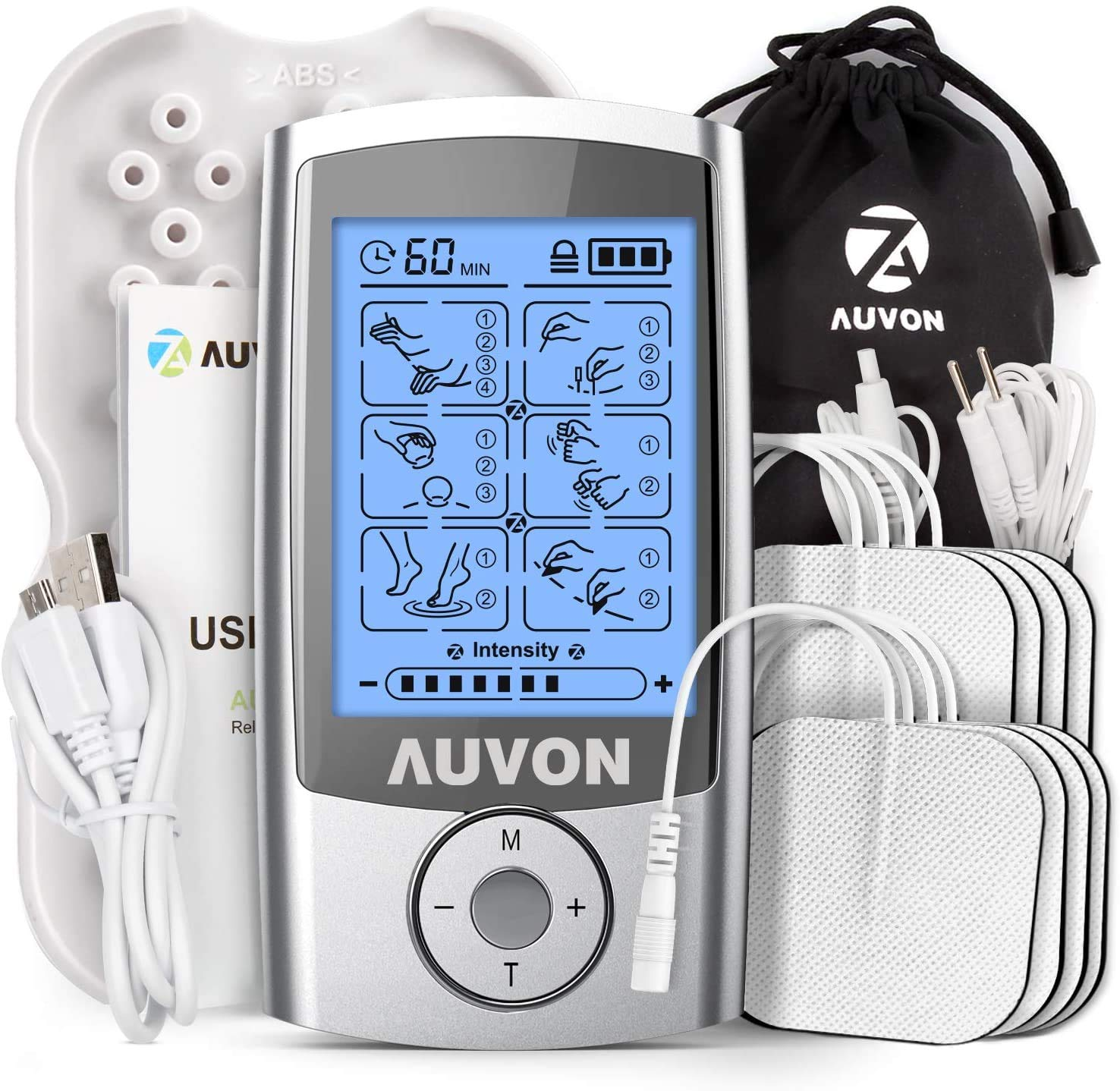 "AUVON Rechargeable TENS Machine Muscle Stimulator for Pain Relief, TENS Unit with 16 Modes, 8pcs 2""x2"" TENS Pads Replacement"