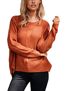 b3d21bc1edf39d Malaven Womens Long Sleeve Casual Loose Sweaters Knit Jumper Pullover  Blouses Tops