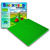 Green Baseplate, 10 x 10 Inches Large Thick Base Plate for Building Bricks by Brickyard Building Blocks, Perfect for Activity Table or Displaying Compatible Construction Toys (Green)