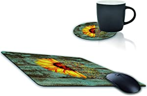 Mouse Pad and Coffee Coaster, Sunflower on Wood Board Mousepad Non-Slip Rubber Gaming Mouse Pad Rectangle Mouse Pads for Computers Laptop