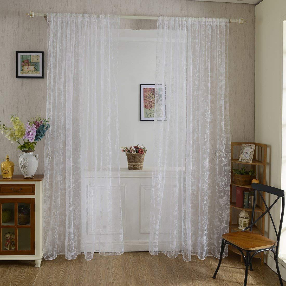 2er 200x100CM Gardinen Set Beflockung Fenstersiebung Voile Schlaufenschal T/üll Fenster Vorhang Garn f/ür Schlafzimmer und Wohnzimmer AOOPOO Vorhang Transparent Schmetterlingsmuster Lila