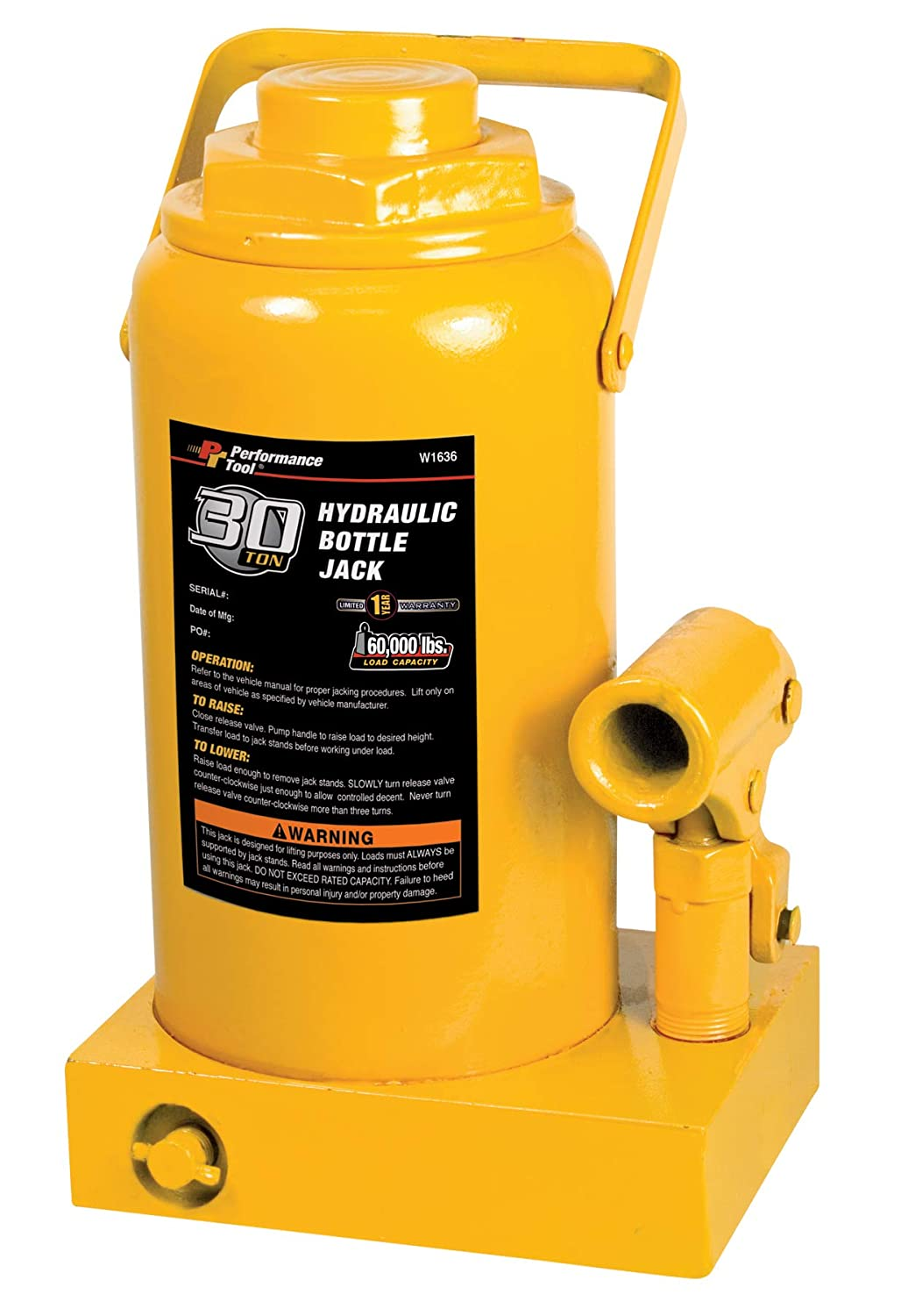 Performance Tool W1637 50 Ton (100, 000 lbs.) Heavy Duty Hydraulic Bottle Jack Wilmar Corporation