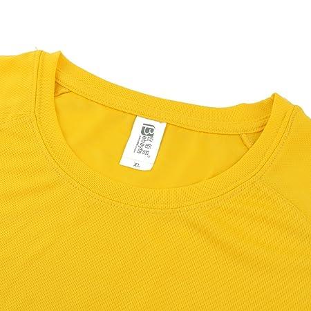 Amazon.com : eDealMax Hombres Ejercicio Publicidad, poliéster, secado rápido y transpirable de Manga Corta Deportes Camiseta, XL/L (Los 44) Amarillo ...