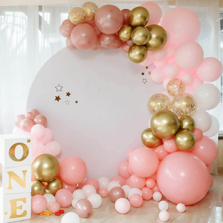 RUBFAC 92pcs Metallic Gold Latex Balloons 18//12//10//5inch Chrome Balloon Set for Birthday Valentines Bridal Shower Wedding Anniversary Party Decoration Helium Balloon